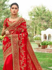 Red Silk Embroidered Designer Saree