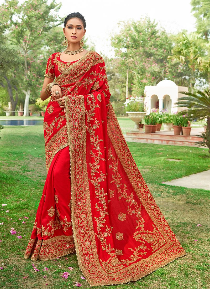 Red Silk Embroidered Designer Saree