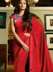 Red Silk Party Classic Designer Saree