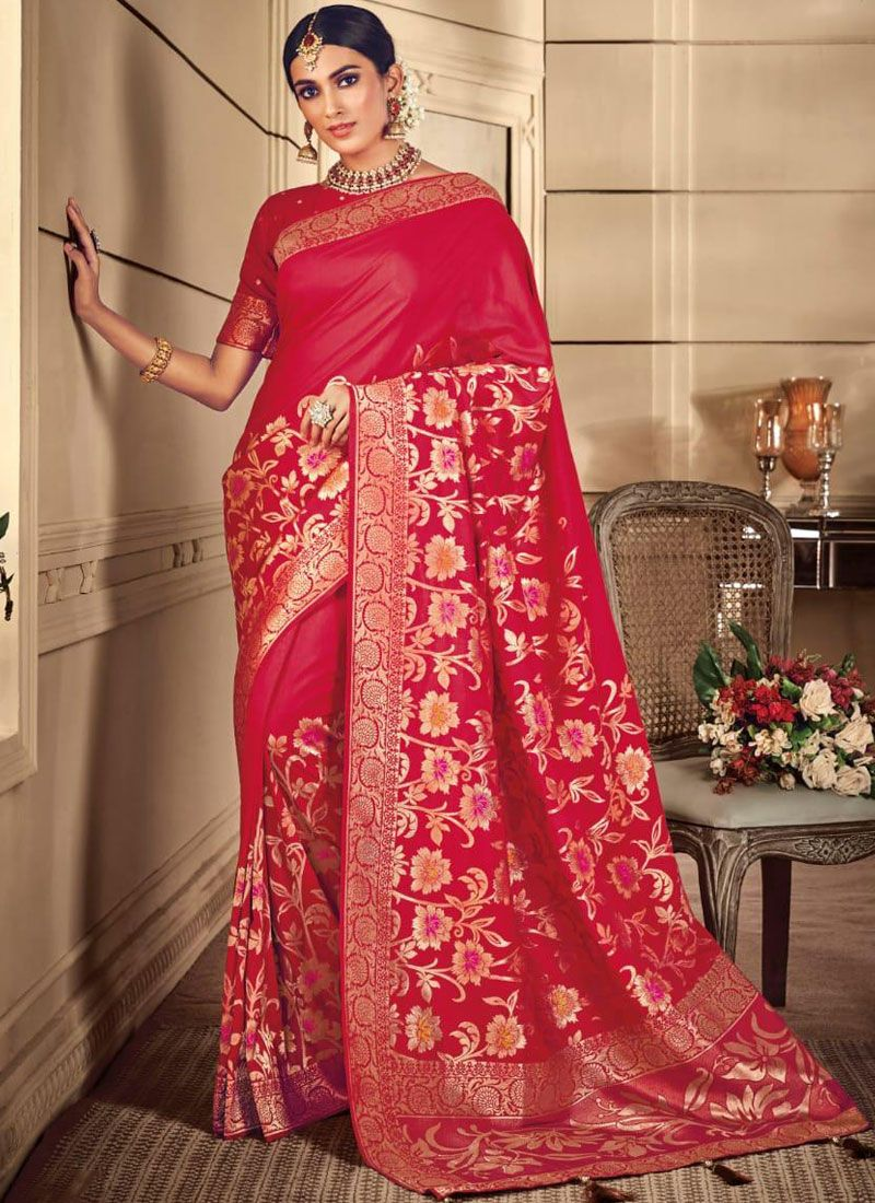 Red Silk Silk Saree