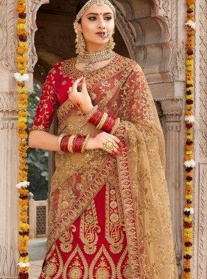 Red Silk Trendy Lehenga Choli