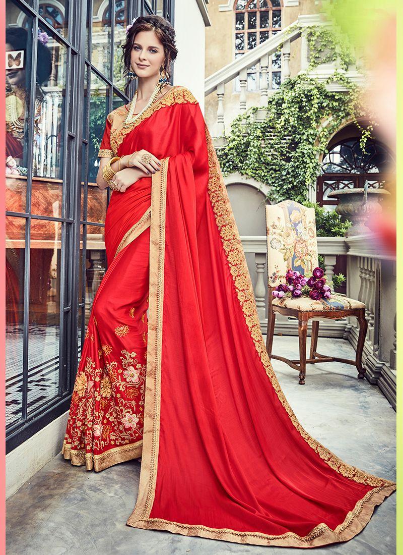 Red Silk Trendy Saree