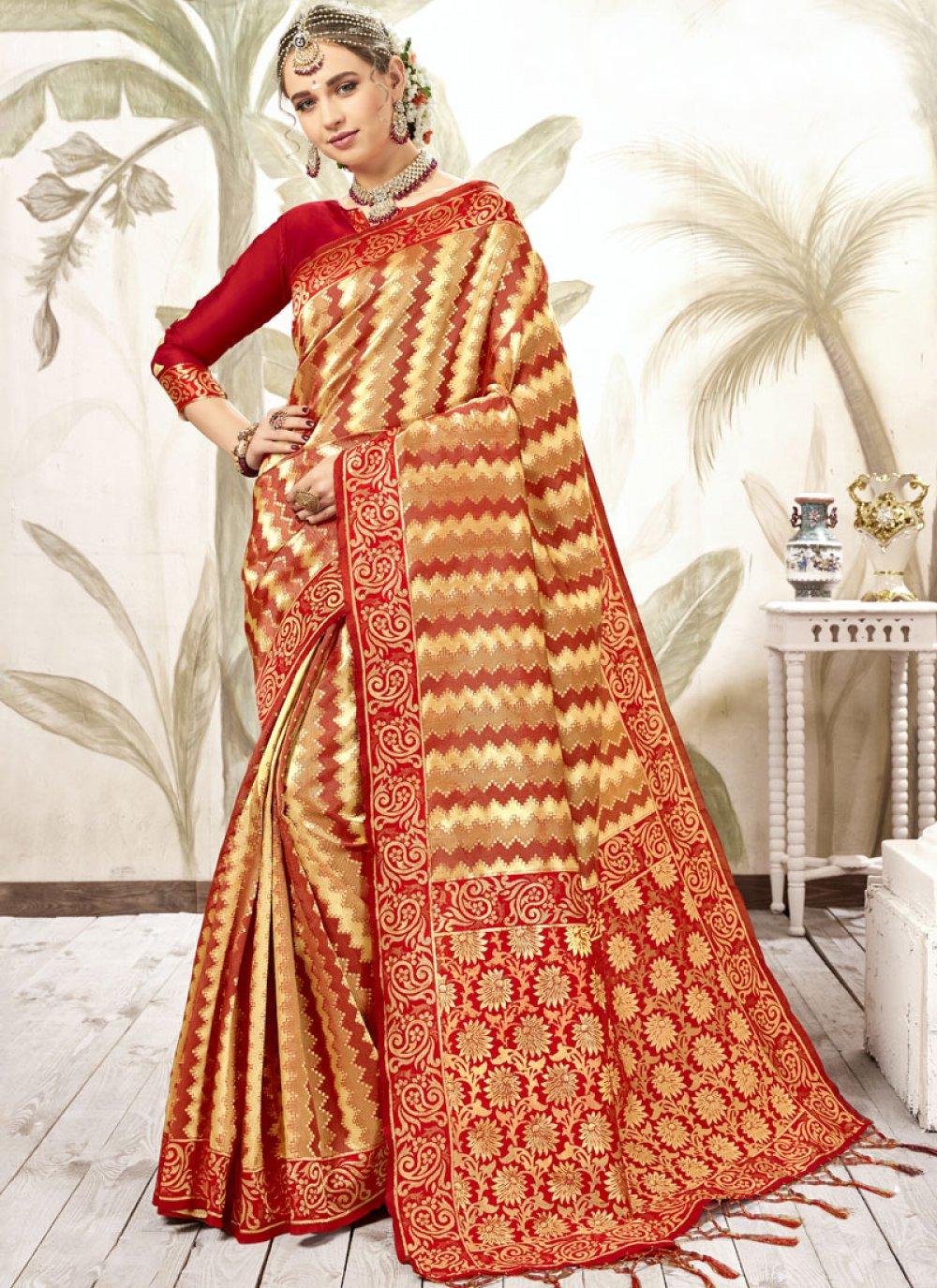 Red Silk Weaving Classic Saree