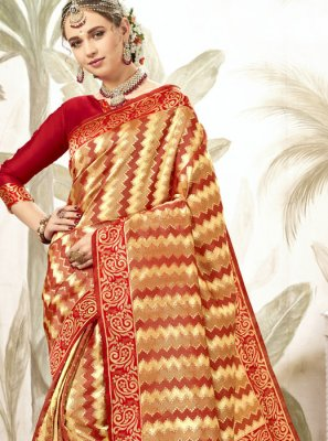 Red Silk Weaving Classic Saree