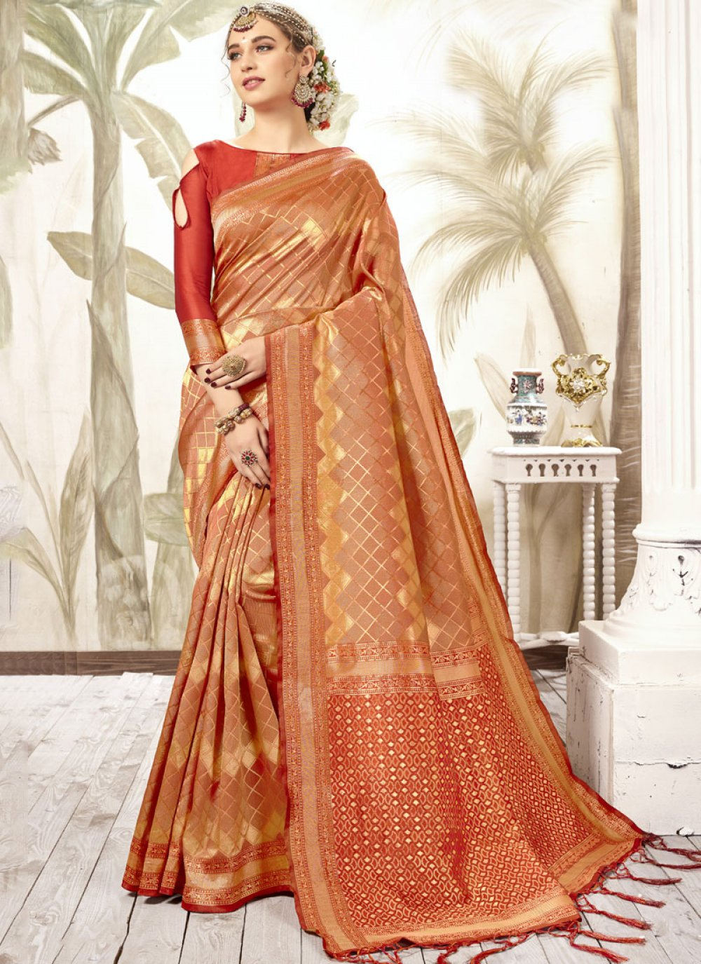 Red Silk Weaving Silk Saree