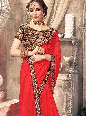 Red Stone Work Casual Saree