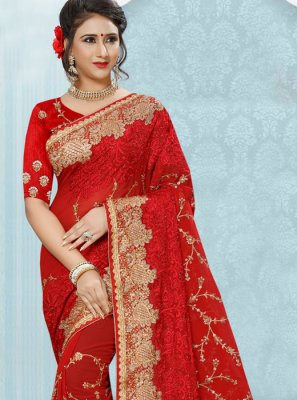 Red Stone Work Faux Georgette Designer Saree