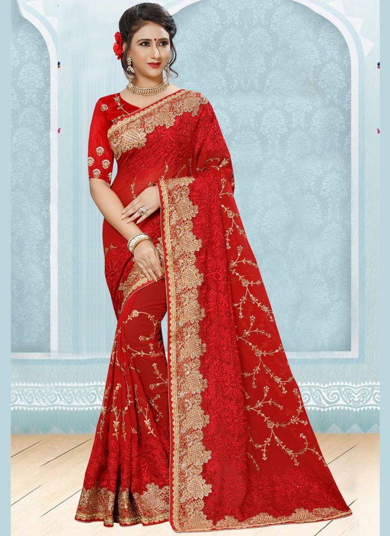 Red Stone Work Faux Georgette Designer Saree