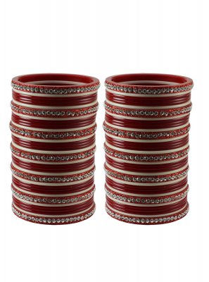 Red Stone Work Reception Bangles