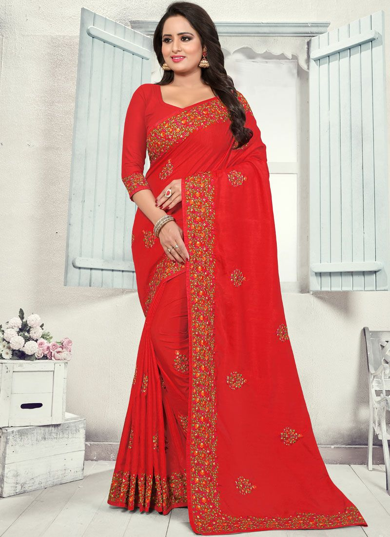 Red Stone Work Silk Classic Saree