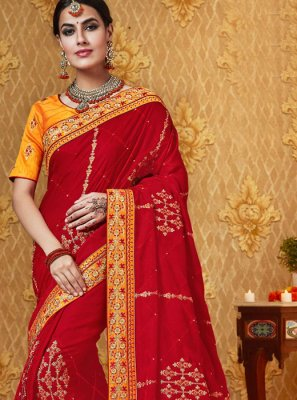 Red Stone Work Traditional Saree