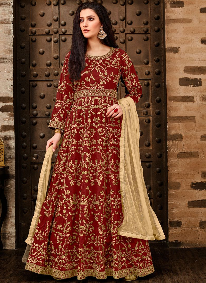 Red Tafeta Silk Embroidered Anarkali Salwar Kameez