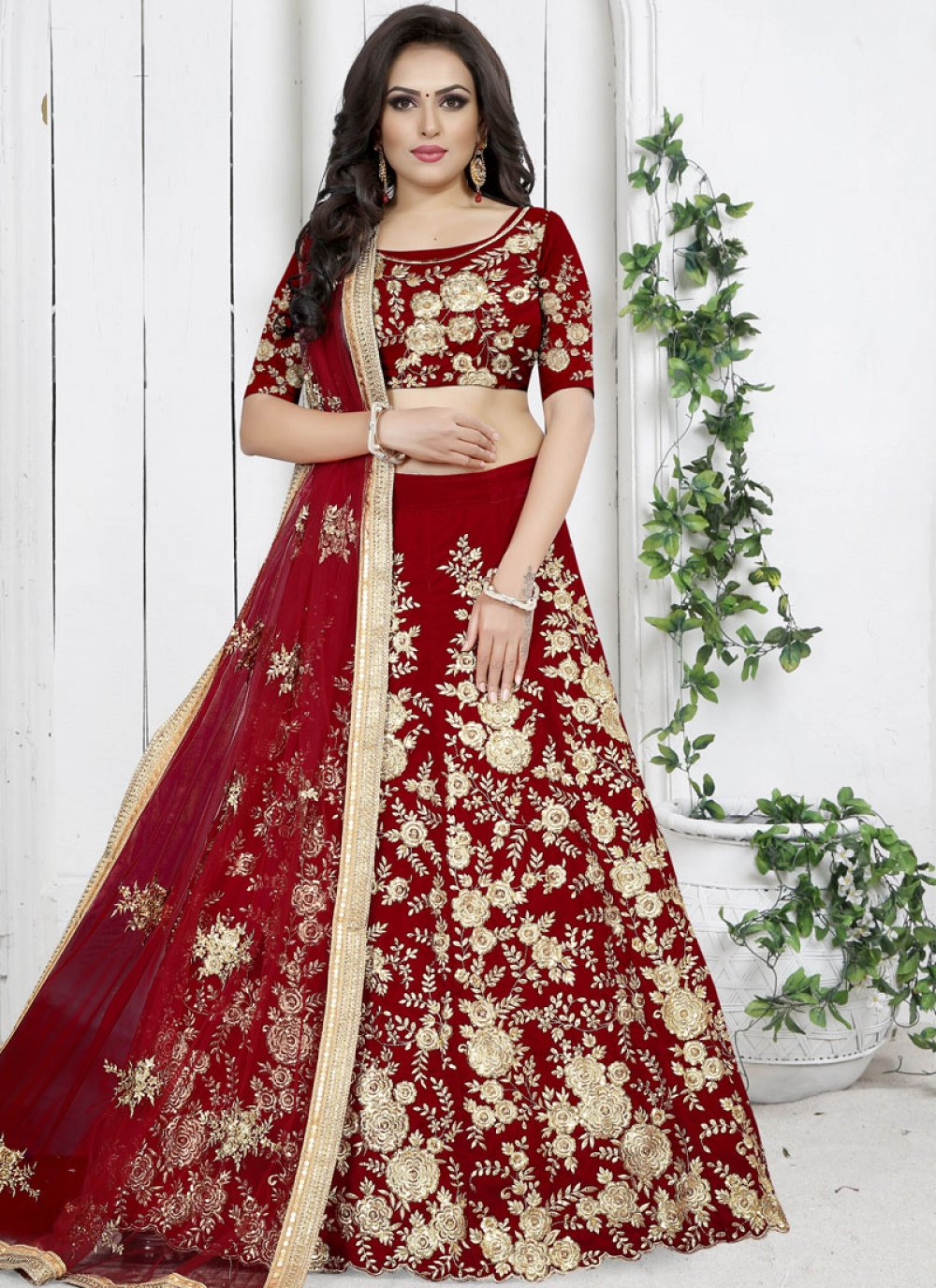 Red Trendy Designer Lehenga Choli