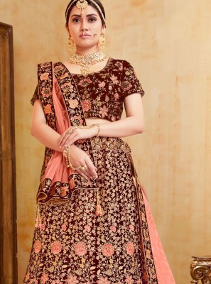 Red Velvet Embroidered Trendy A Line Lehenga Choli