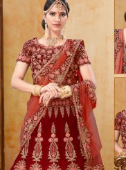 Red Velvet Wedding Designer A Line Lehenga Choli
