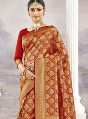 Red Weaving Art Silk Classic Saree
