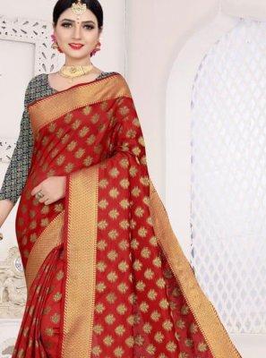 Red Weaving Art Silk Cotton Casual Saree