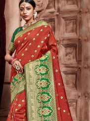 Red Weaving Art Silk Designer Traditional Saree