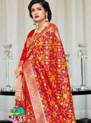 Red Weaving Art Silk Traditional Designer Saree