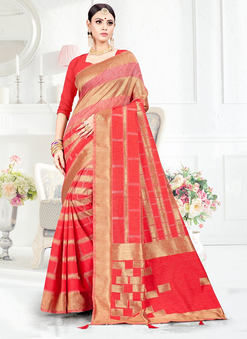 Red Weaving Art Silk Traditional Saree