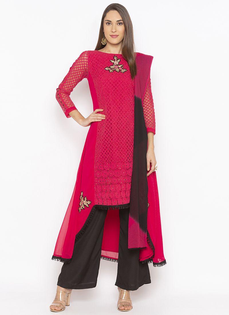 Red Weaving Designer Kurti