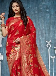 Red Weaving Festival Designer Traditional Saree