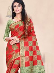 Red Weaving Festival Traditional Designer Saree
