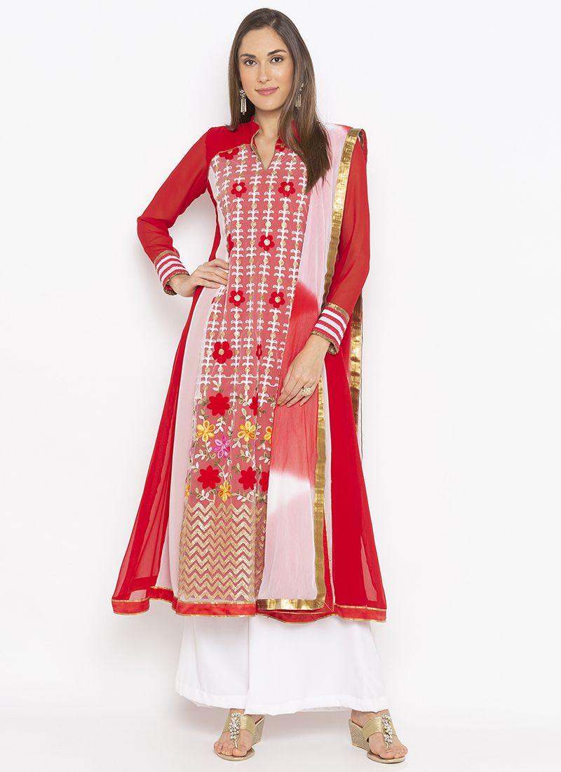 Red Weaving Salwar Kameez