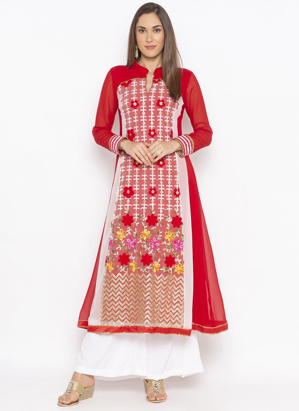 Red Weaving Sangeet Designer Kurti
