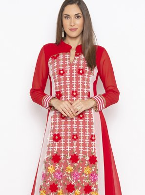 Red Weaving Sangeet Designer Kurti