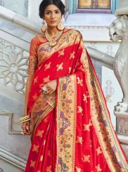 Red Weaving Silk Classic Saree