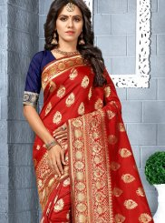 Red Weaving Silk Silk Saree