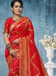 Red Weaving Traditional Designer Saree