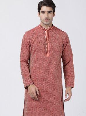 Red Wedding Blended Cotton Kurta Pyjama