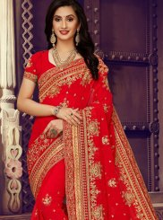 Red Wedding Faux Georgette Classic Designer Saree