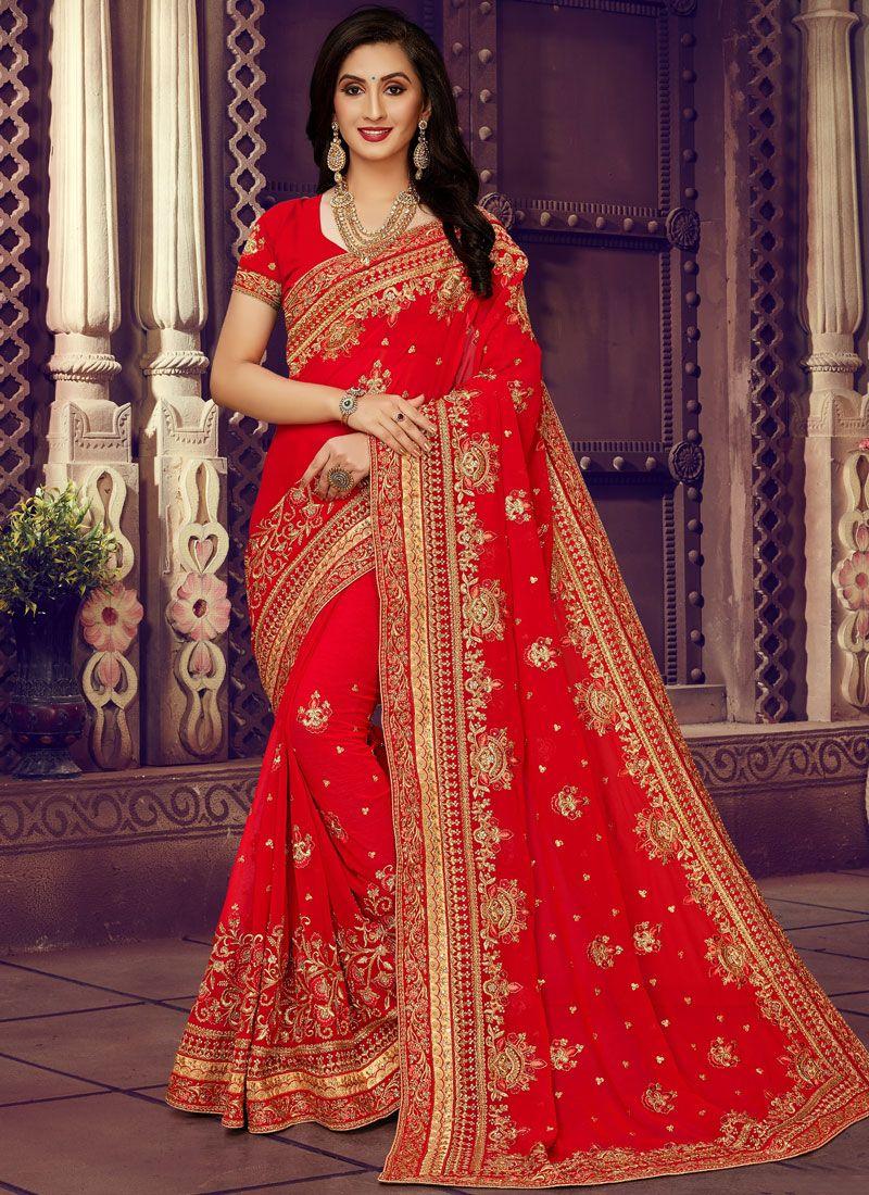 Red Wedding Faux Georgette Classic Designer Saree