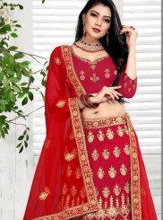 Red Wedding Velvet Designer Lehenga Choli