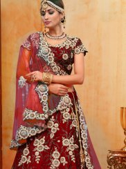 Red Wedding Velvet Designer Lehenga Choli