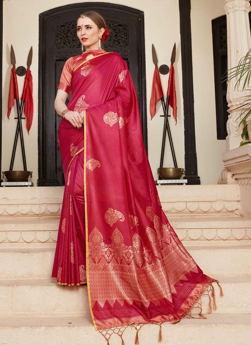 Red Woven Art Silk Designer Traditional Saree