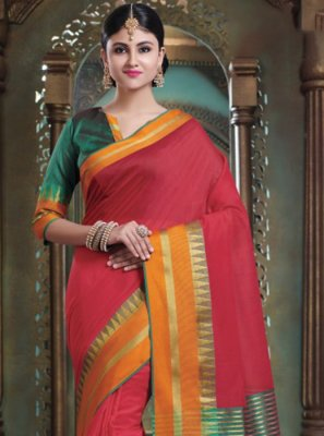 Red Woven Art Silk Traditional Saree