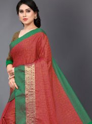 Red Woven Casual Casual Saree