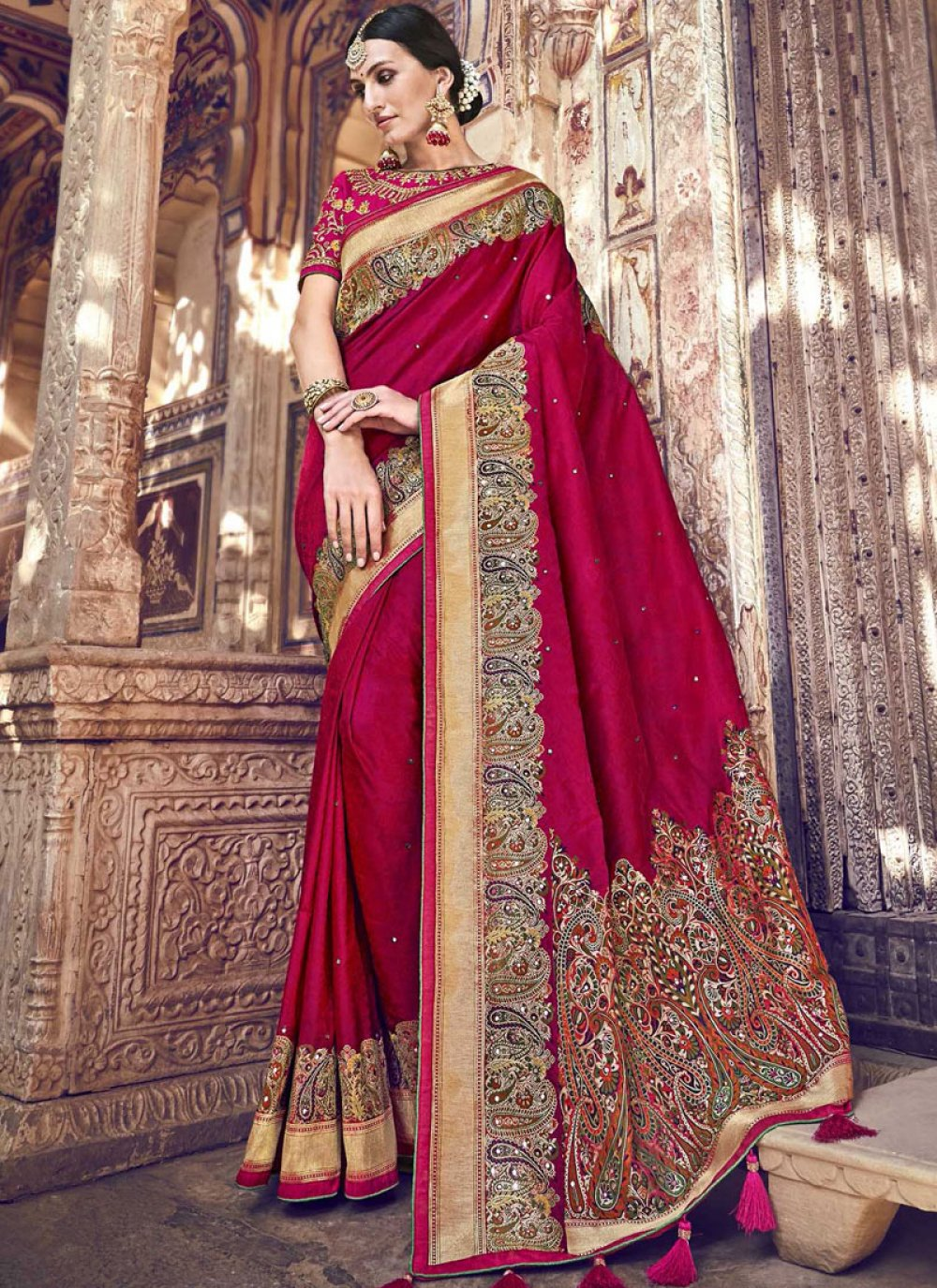Red Woven Ceremonial Designer Traditional Saree