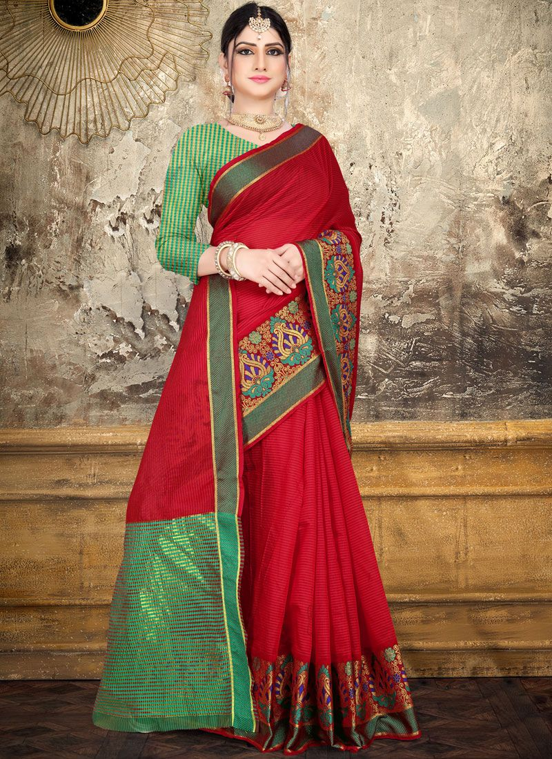 Red Woven Cotton Saree