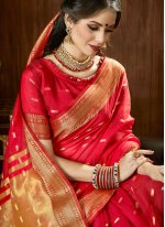 Red Woven Cotton Silk Traditional Saree