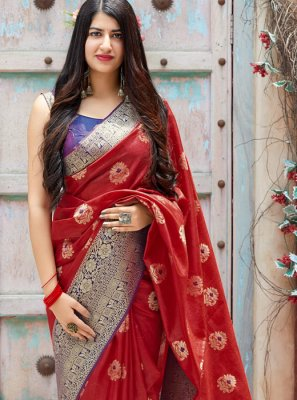 Red Woven Wedding Traditional Designer Saree