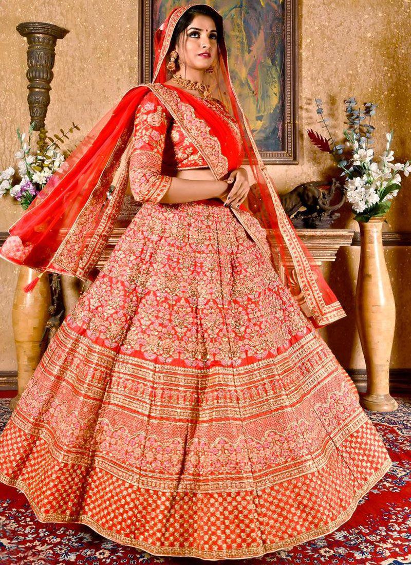Red Zari Art Silk Designer Lehenga Choli
