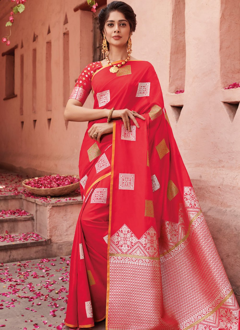 Red Zari Banarasi Silk Designer Saree