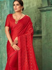 Red Zari Faux Georgette Trendy Saree