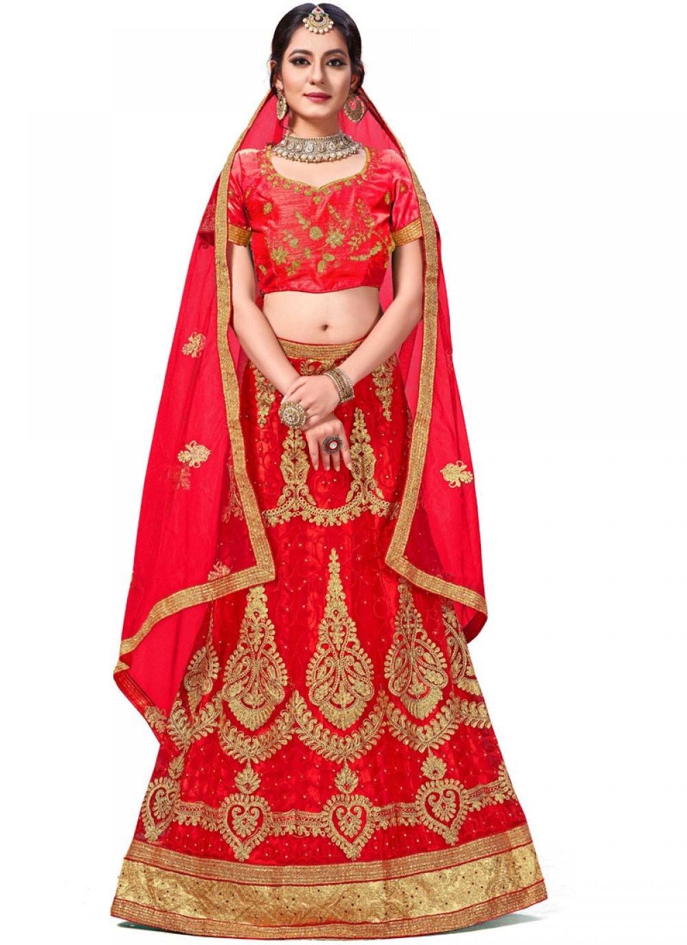 Red Zari Net Trendy Lehenga Choli