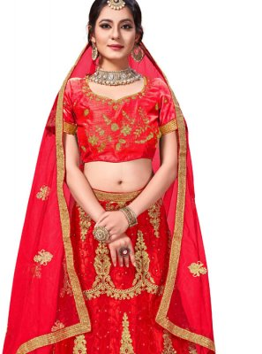 Red Zari Net Trendy Lehenga Choli